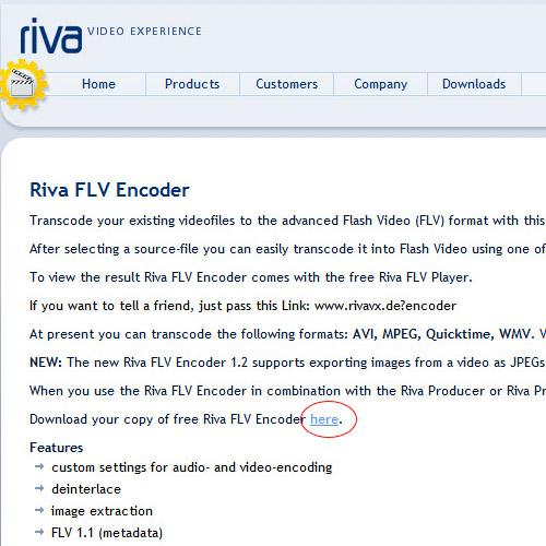 Изтегляне на Riva FLV Encoder - първа стъпка