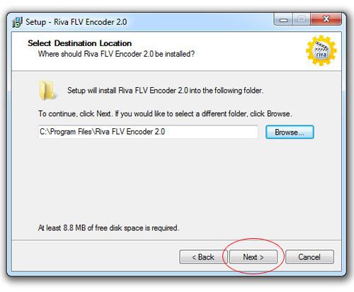 Инсталиране на Riva FLV Encoder - избор на директория
