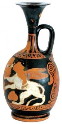 Арибаловиден лекит с полихромна украса. Втора четвърт на IV в. пр. Хр.  Некропол Аполония Понтика (УПИ Х 5101) в м. Буджака, в землището на гр. Созопол